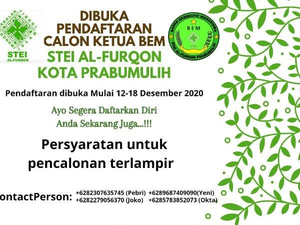Pengumuman Pemilihan Ketua BEM STEI Alfurqon